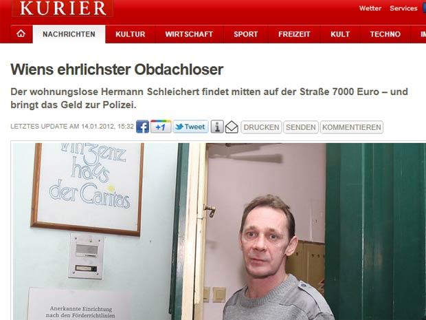 O sem-teto Hermann Schleichert (Foto: Reprodução)