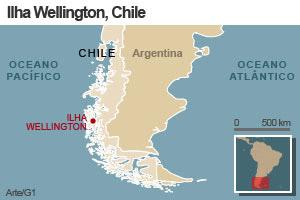 Local onde caíram destroços de sonda russa, no Chile (Foto: Editoria de Arte / G1)