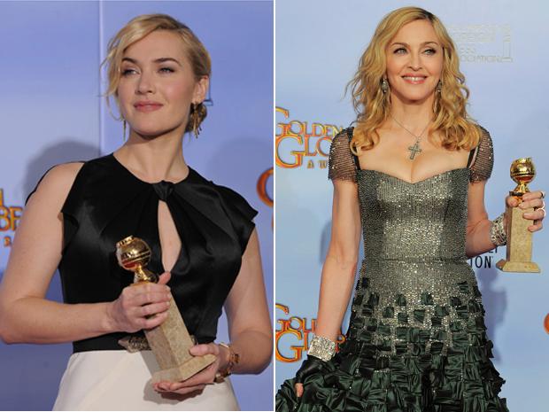 Kate Winslet ganhou por melhor atriz pela minissérie 'Mildred Pierce'; já Madonna ganhou por melhor canção  (Foto: AP)