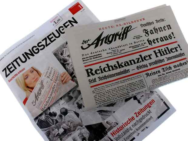 Edição de 5 de janeiro do jornal 'Zeitungszeugen', de Munique, com reedição do jornal nazista 'Der Angriff' (O Ataque), de 30 de janeiro de 1933 (Foto: AFP)