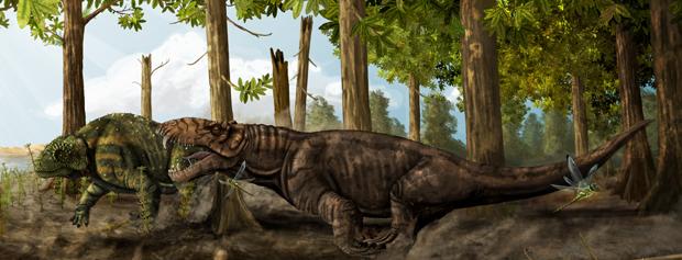 Ilustração mostra como seria o 'Pampaphoneus biccai'. (Foto: Cortesia Juan Carlos Cisneros / Divulgação)