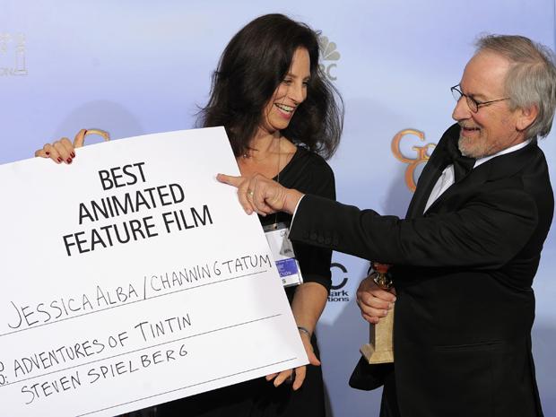 Steven Spielberg ganhou o prêmio de melhor animação por 'As aventuras de TinTin' (Foto: AP)