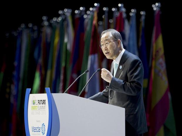 O secretário-geral da ONU, Ban Ki-moon, discursa nesta segunda-feira na abertura de evento em Abu Dhabi (Foto: Ryan Carter/Abu Dhabi Crown Prince Court/Handout/Reuters)