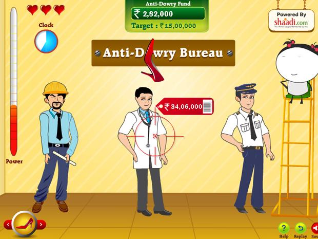 Tela do jogo 'Angry Brides', em que o jogador deve acertar noivos que cobram dotes altos (Foto: Reprodução)