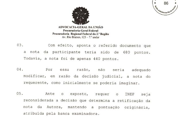 Trecho da defesa do MEC no caso da estudante Bianca Peixoto (Foto: Reprodução)