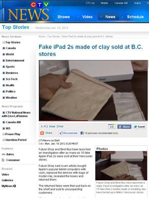 iPad 2 de argila é vendido em redes do Canadá (Foto: Reprodução)