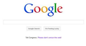 Google não sai do ar, mas publica link com mensagem de protesto contra os projetos de lei SOPA e PIPA (Foto: Reprodução)