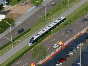 Obra do VLT em Cuiabá na Avenida Fernando Corrêa da Costa (Foto: Secopa/MT)