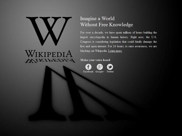 """Página inicial da Wikipédia exibe a mensagem: """"Imagine o mundo sem conhecimento livre"""" (Foto: Reprodução)"""
