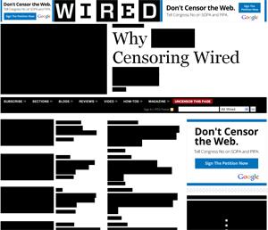 Site da revista de tecnologia Wired censurou suas chamadas em protesto aos projetos de lei (Foto: Reprodução)