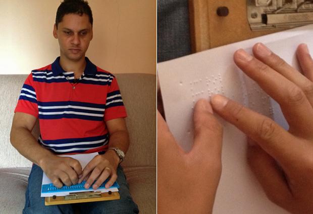 Edson de Souza, que perdeu a visão na infância, levava dois dias para transcrever as aulas da faculdade para o braile (Foto: Ana Carolina Moreno/G1)