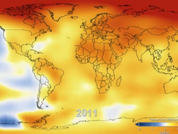 Vídeo no site da Nasa mostra a variação de temperatura desde que os registros começaram a ser feitos, em 1880 (Foto: NASA Goddard Institute for Space Studies. Visualization credit: NASA Goddard Space Flight Center Scientific Visualization Studio)