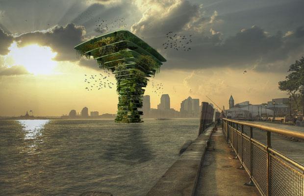 Sea Tree é uma construção de cerca de 30 metros de altura  (Foto: Koen Olthuis - Waterstudio.NL)
