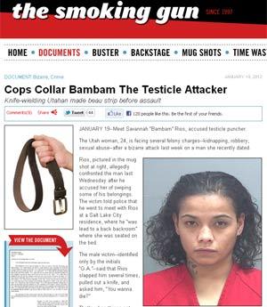 """Reportagem do site """"Smoking Gun"""" mostra foto de 'Bambam' Rios divulgada pela polícia (Foto: Reprodução)"""