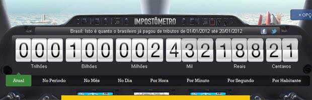 Imagem do site do Impostômetro nesta sexta-feira (20) (Foto: Reprodução)