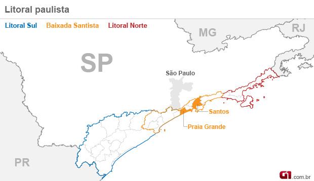 mapa litoral SP Baixada Santista (Foto: Arte/G1)