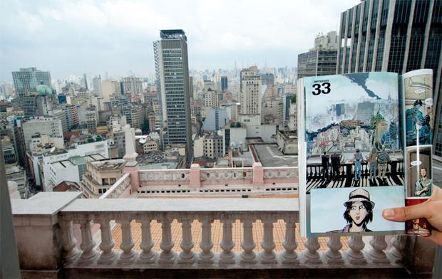 Imagem de 'Daytripper', de Fábio Moon e Gabriel Bá, que mostra a vista do Edifício Martinelli (Foto: Flavio Moraes/G1)