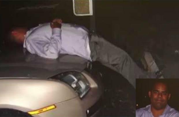 Orlando Pacheco foi encontrado bêbado e desmaiado sobre o capô do carro. (Foto: Reprodução)