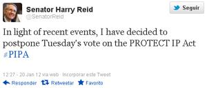 O senador Harry Reid foi ao Twitter para anunciar o adiamento da votação (Foto: Reprodução)