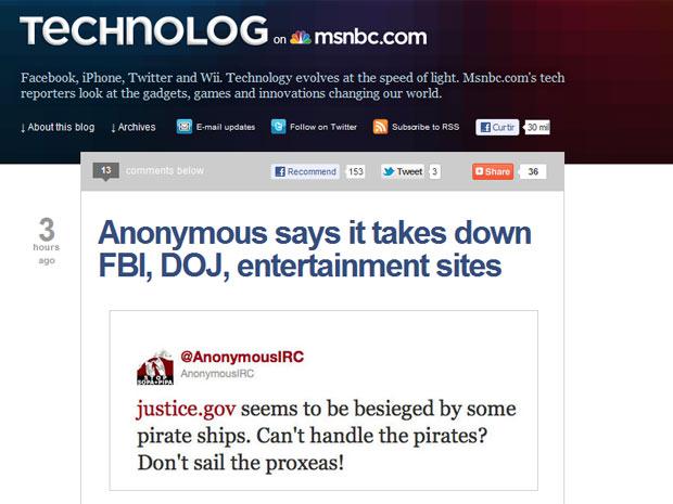 """""""Parece que o justice.gov (site do Departamento de Justiça dos Estados Unidos) foi atacado por navios piratas"""", diz postagem em perfil no Twitter do grupo Anonymous (Foto: Reprodução)"""