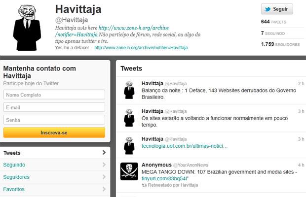 Perfil brasileiro relacionado ao grupo Anonymous (Foto: Reprodução)