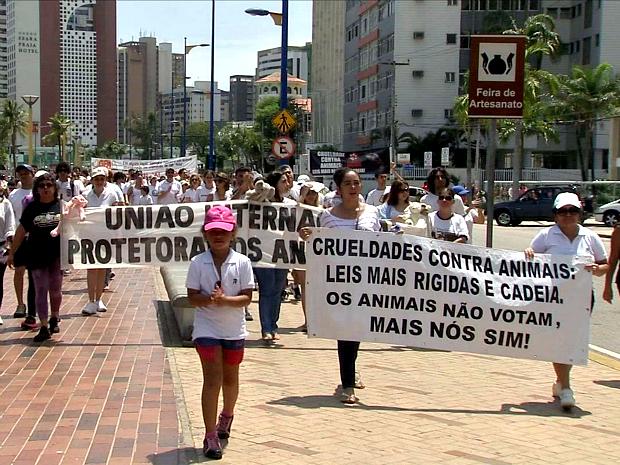 Uma manifestação contra maus-tratos aos animais, pedindo mudanças na atual legislação para que puna com mais rigor estes crimes reuniu dezenas de pessoas na Avenida Beira-mar, em Fortaleza (Foto: TV Verdes Mares/Reprodução)