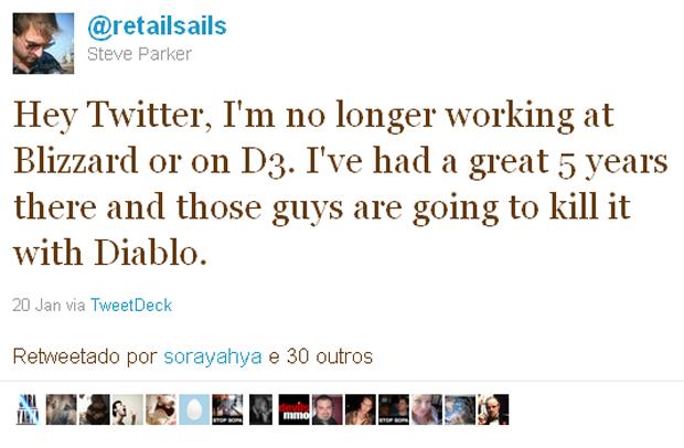 Tuíte do produtor sênior de 'Diablo 3' Steven Parker anunciando saída da Blizzard (Foto: Reprodução)