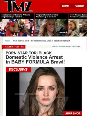 A atriz pornô Tori Black em foto da polícia (Foto: Reprodução)