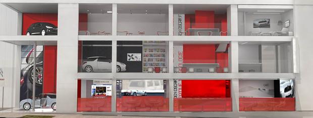 Desenho do espaço Citroën na rua Oscar Freire, em São Paulo (Foto: Divulgação)