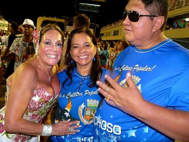 Susana Vieira, Márcia Baranda e David Assayag em ensaio da Grande Rio (Foto: Divulgação/Boi Caprichoso)