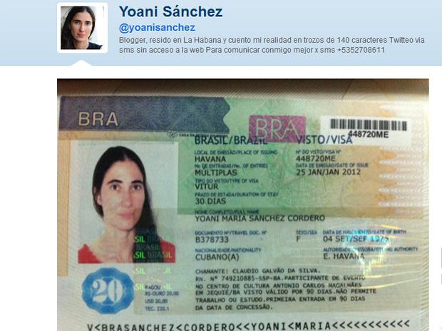 Imagem divulgada pela blogueira no Twitter mostra o visto concedido pelo Brasil (Foto: Reprodução)