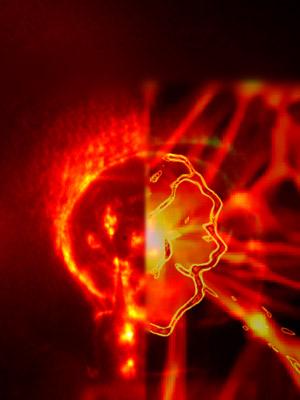 À esquerda, uma onda de choque produzida com laser; à direita, a simulação de uma onda desse tipo nas origens do Universo (Foto: A. Ravasio (LULI), A. Pelka (LULI), J. Meinecke (Oxford), C. Murphy (Oxford), F. Miniati (ETH))