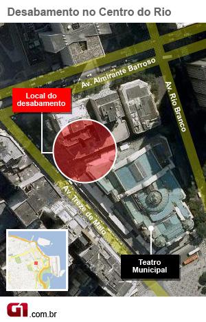 Mapa de área do desaabamento (Foto: Arte/G1)