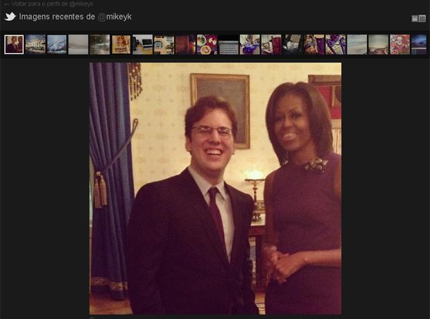 O brasileiro Mike Krieger e a primeira-dama dos Estados Unidos, Michelle Obama. Krieger esteve presente no tradicional discurso do Estado da União feito por Barack Obama na terça-feira (24). (Foto: Reprodução)