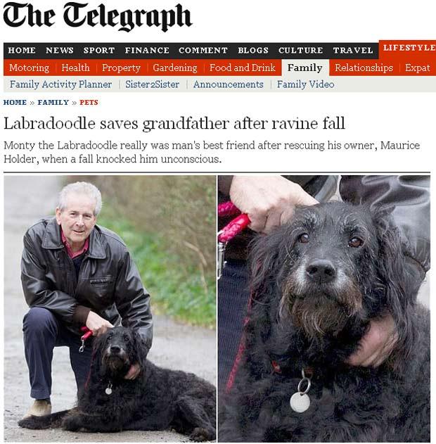 Maurice Holder com seu cão Monty em Newquay (Foto: Reprodução)