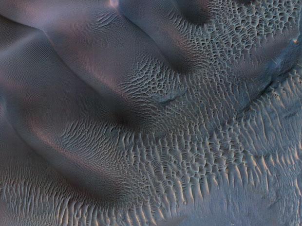 Dunas de areia na cratera Noachis Terra, em Marte (Foto: Nasa/JPL-Caltech/Univ. of Arizona )