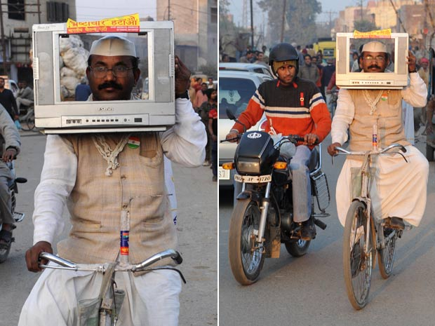 Sham Lal Gandhi usou televisão na cabeça durante campanha eleitoral. (Foto: Narinder Nanu/AFP)