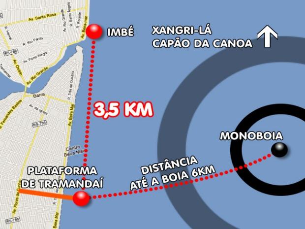 Arte sobre o vazamento de óleo em Tramandaí (Foto: Arte, RBS TV)
