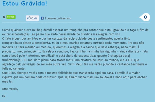 Claudia Leitte divulga que está grávida (Foto: Divulgação/Blog)