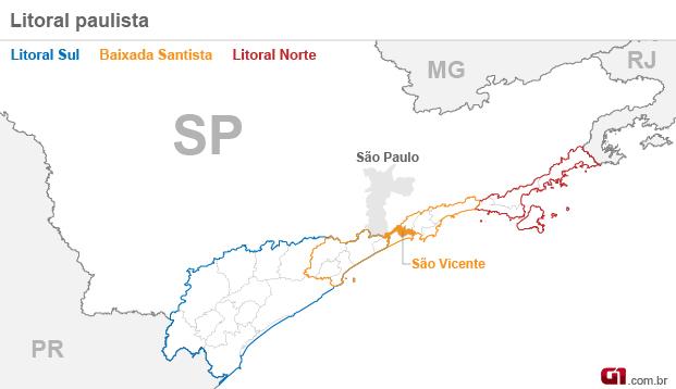 mapa são vicente (Foto: Arte/G1)