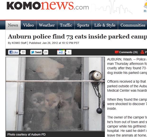 Homem foi preso após autoridades acharem 73 gatos e um cão em trailer. (Foto: Reprodução/Komo News)