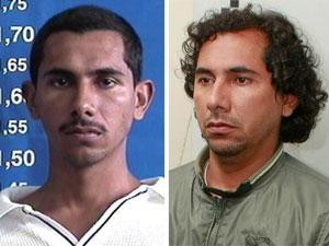 Fabiano Atanázio, conhecido como FB, em foto de arquivo (esq.) e após ser preso nesta sexta-feira (27) (Foto: Disque-denúncia e Mario Ângelo/Sigmapress/AE)