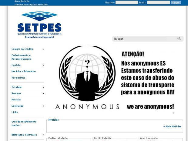 Página do Setpes exibe mensagem do grupo invasor (Foto: Reprodução)