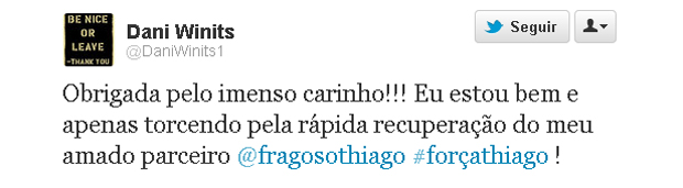 Danielle Winits publica no Twitter mensagem de apoio a Thiago Fragoso (Foto: Reprodução)