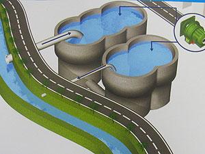 Arte reproduz piscinões que serão construídos para conter águas das chuvas (Foto: Reprodução/Prefeitura)