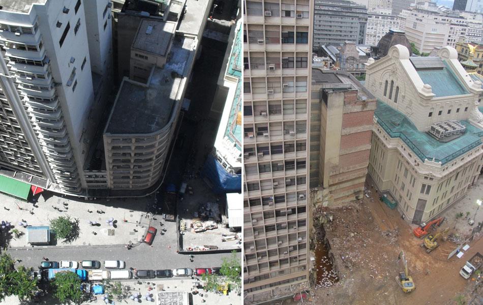 Imagens de janeiro de 2009 (esq.) e deste domingo, 29 de janeiro, permitem comparar a esquina onde ocorreu o desabamento