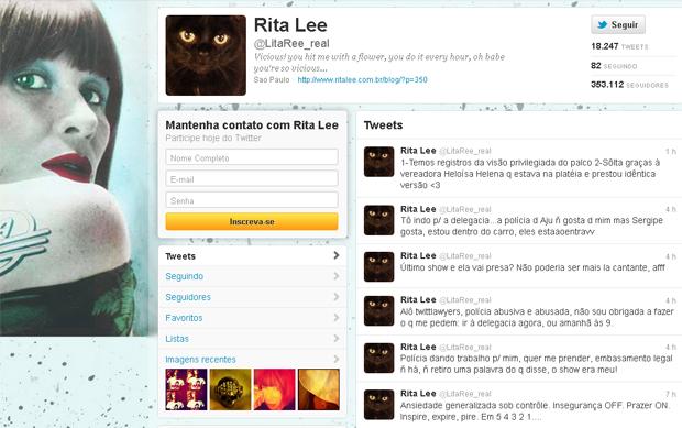 Pelo Twitter, Rita Lee relatou que foi detida por policiais após seu último show, em Sergipe (Foto: Reprodução)