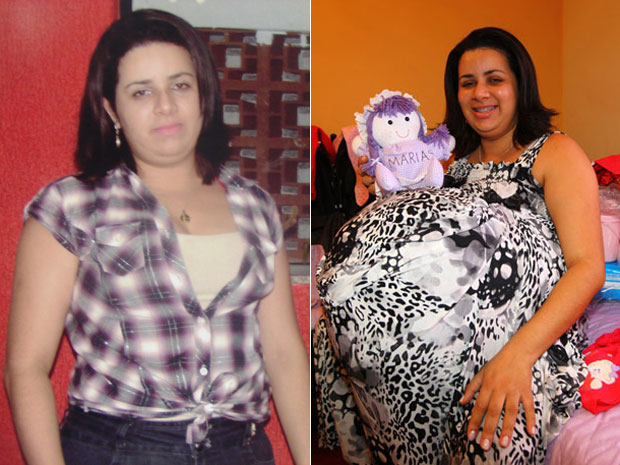 Maria Vernonica Aparecida Cesar Santos, 25, who faked a pregnancy with quadruplets, without her costume