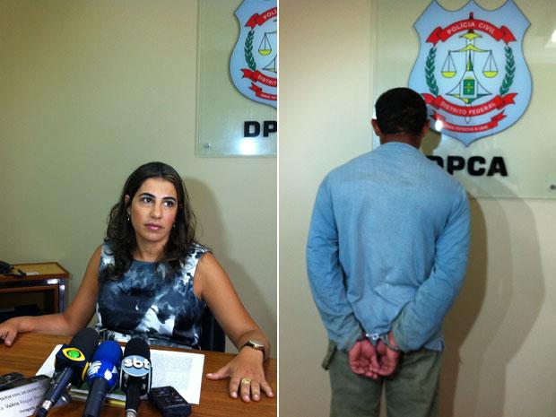 Delegada da DPCA apresenta suspeito que violentar a própria filha (Foto: Káthia Mello/G1)
