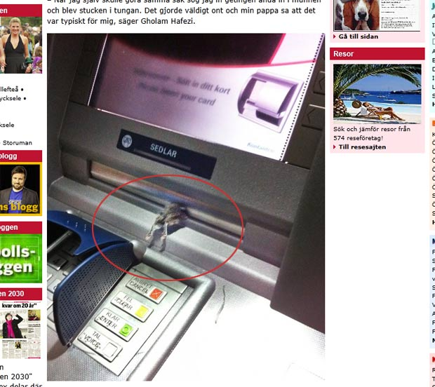 Cliente encontrou rato ao sacar dinheiro de caixa eletrônico. (Foto: Reprodução/Västerbotten Folkblad)